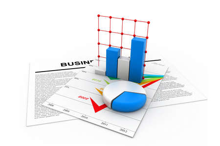 Business chart with growth graph Stock Photo - 16945927