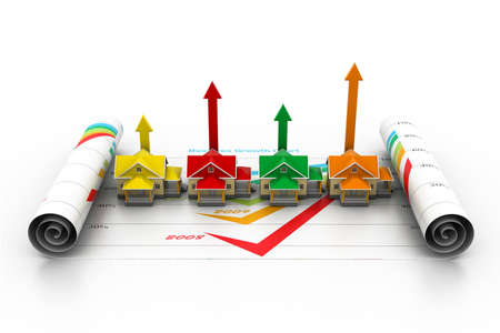 credit risk: Growing home sale  3d concept