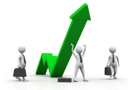 exchange rate: Business growth graph with people  business success concept  Stock Photo