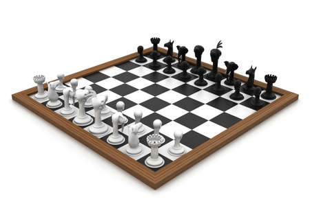 chessboard: Chess board with figures in white background