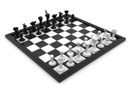 Chess board with figures in white background photo