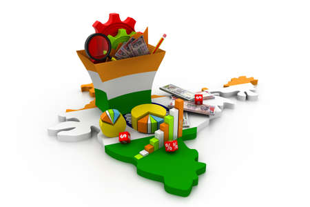 map of india: Financial Analysis with graphs and data  in India   Stock Photo