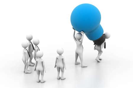 joined hands: Teamwork with idea light bulb