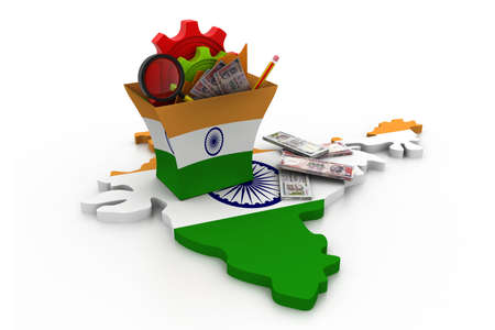 india 3d: Financial Analysis with graphs and data  in India   Stock Photo