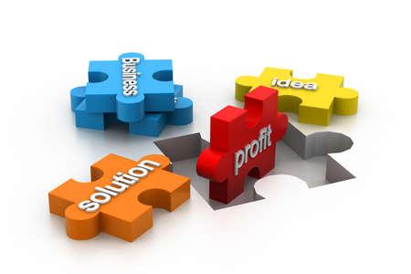 perdidas y ganancias: rompecabezas que muestra el contenido empresarial
