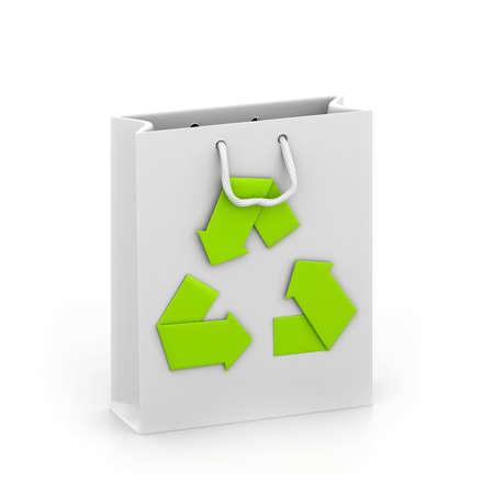 reusable: reusable shopping bag with recycle symbol