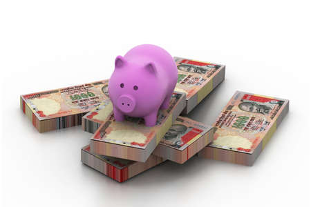 indian money: piggy bank on currency