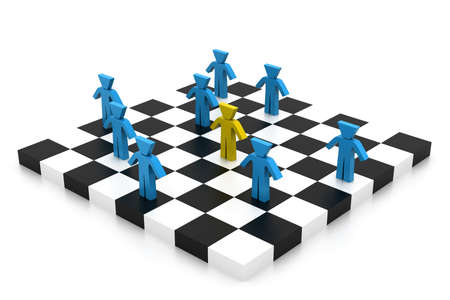 chessboard: Business people competition on chessboard