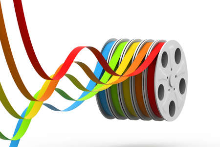 protrude: Colourful film reels Stock Photo