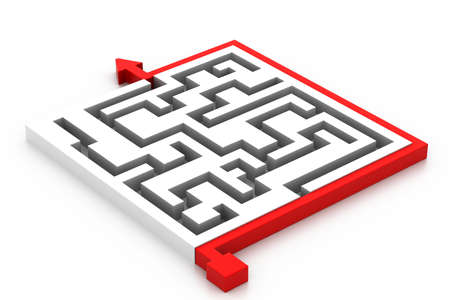 Maze puzzle solved Stock Photo - 17010605