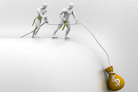 pulling money: Teamwork concept Stock Photo