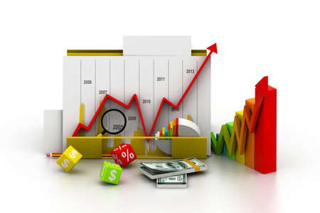 Business graph and chart in folder Stock Photo - 17010644