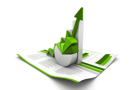 3d business growth graph photo