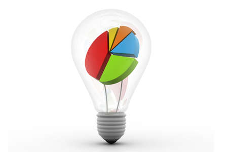 Business graph in light bulb  business idea  photo