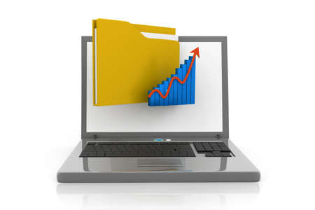 folder and graph in laptop Stock Photo - 17034485