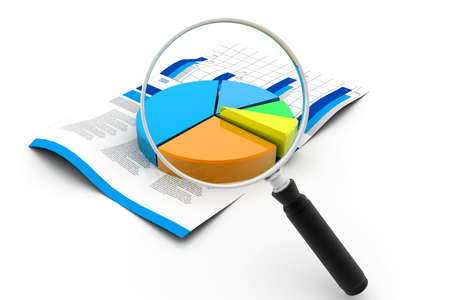 Financial pie chart and magnifying glass Stock Photo - 17034514
