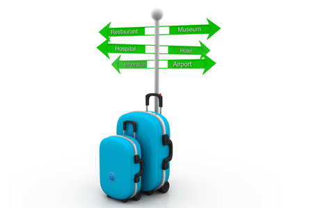 tourist sign post and suitcases Stock Photo - 17034401
