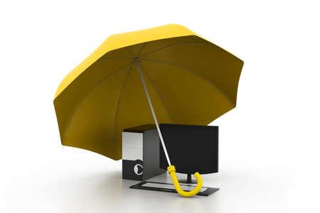 computer under umbrella Stock Photo - 17034296