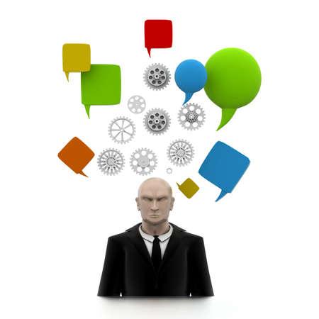 thinking bubble: Business man Brain in Progress
