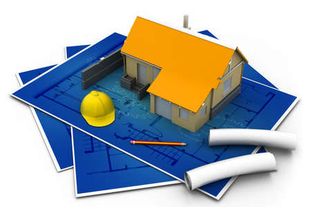 3d house and blueprints Stock Photo - 17034044