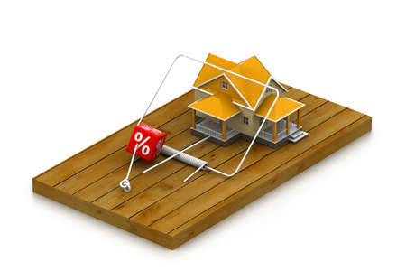 House sitting on a mousetrap   suggesting risk in real estate Stock Photo - 17033992