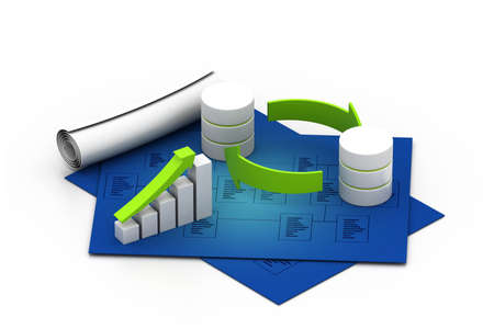 dispensation: Databases concept icon with graph in chart