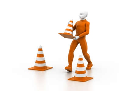 traffic cone: under Construction Stock Photo