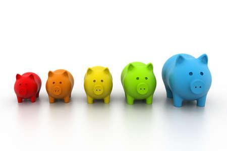 Colourful Piggy bank in a row photo