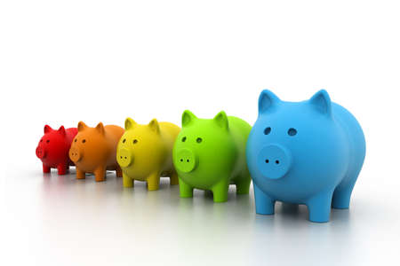Colourful Piggy bank in a row