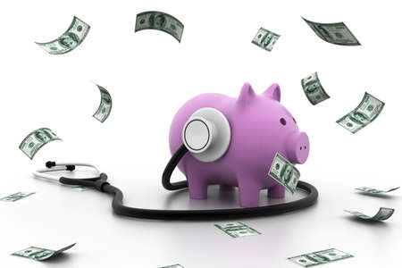 doctor with dollars: Piggy bank with stethoscope