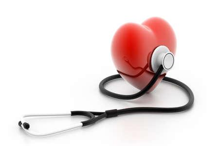 physical test: cuore e stetoscopio Archivio Fotografico