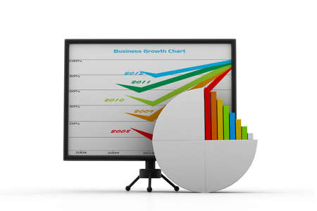 3d business graph and chart photo