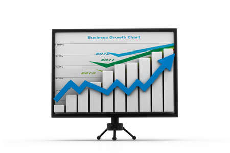 increase sales: Business graph in monitor