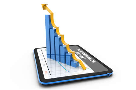 Digital tablet with rising chart Stock Photo - 17033702