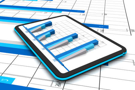 Business graph with growth chart in tablet Stock Photo - 17033930