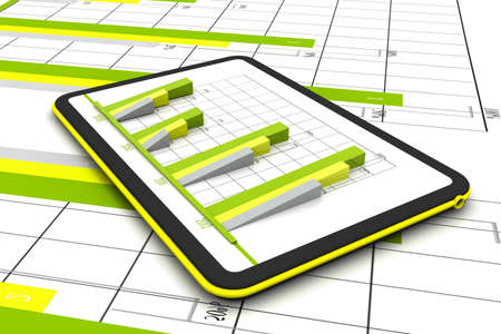 Business graph with growth chart in tablet Stock Photo - 17033931
