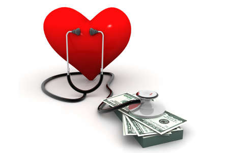 heart with stethoscope and money Stock Photo - 17033759