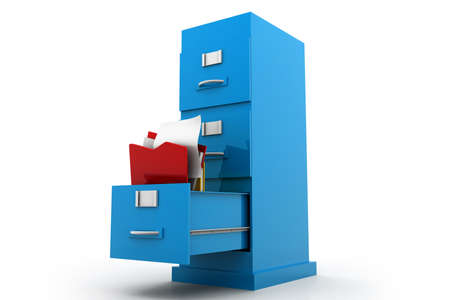 Documents flying into filing cabinet photo