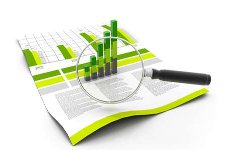 Financial data and magnifying glass Stock Photo - 17033917