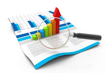 lupa: Business chart a zvětšovací sklo