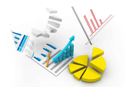Business chart with growth graph Stock Photo - 17033863