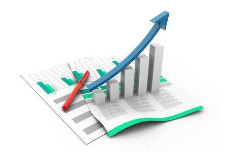increment: Business graph on chart Stock Photo