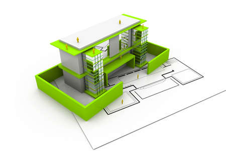 urban housing: modern project of building Stock Photo