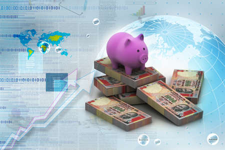 piggy bank and currency in digital design photo