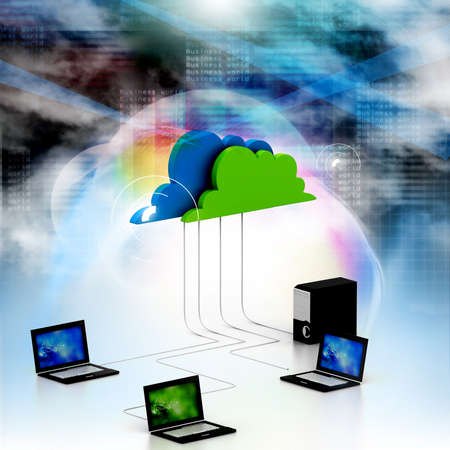 Digital illustration of Cloud computing devices Stock Illustration - 17037757