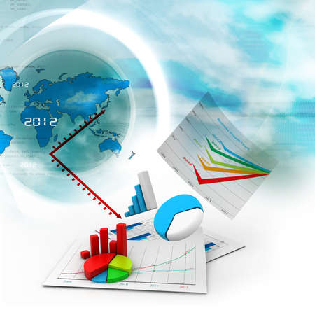 Business chart with growth graph in business background Stock Photo - 17037690