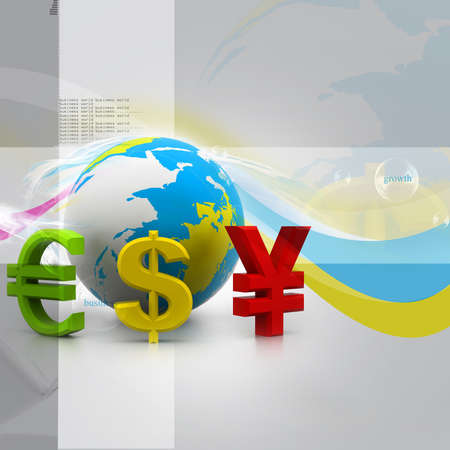 Globe with currency symbols in abstract design photo
