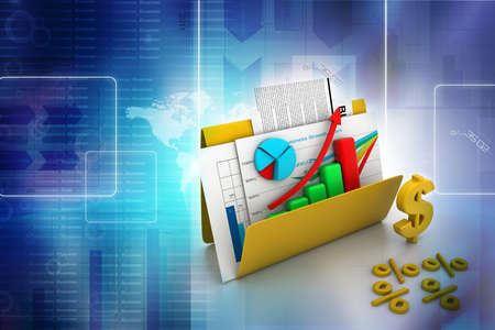 Business graph and chart in folder Stock Photo - 17037685
