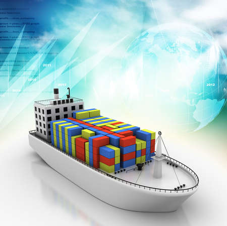 commercial dock: Digital illustration of Container ship