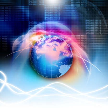 orbits: Digital illustration of earth Stock Photo